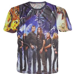 Wholesale Iron Maiden Wholesalers - Wholesale- New Unisex Lovers Rock Band T-shirt Iron Maiden Print T Shirt For Men Women Hip Hop 3D Tshirt Skull Eddie Novelty Top Tee Shirts