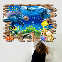 3D Wall Stickers Nursery Camera dei bambini Wall Art Immagini Underwater World Fish Ocean Wallpape Home Decor da
