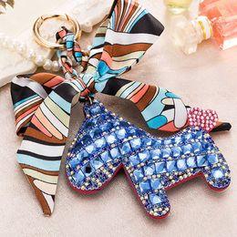 Wholesale Cute Crystal Key Chain - Fashion Cute Women's Bag & Car Pendant High-end Handmade Scarf Leather Handbag Key Chains Tassel Rodeo Crystal Horse Bag Charm