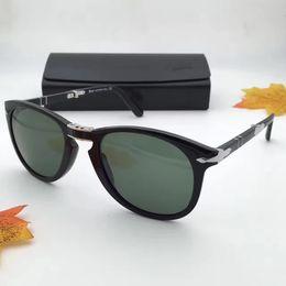 Wholesale Poly Styrene - MEN PERSOL Sunglasses 714 Folding Light Havana   Green designer brand Sunglasses 2017 New with case