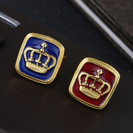Wholesale steel enamel rings - Hipster Hip hop exaggeration Domineering crown Blue Red Enamel 18k Gold Crown Ring Band Rings Biker ring for Men Fashion Jewelry 080244