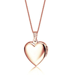 Wholesale Heart Locket Photo - Lover 18K Rose gold Stainless Steel Keepsake Jewelry Rose Heart Shape Photo Frame Locket Real Pendant Necklace For girls Jewelry