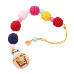 Wholesale Wooden Pacifier Clips - Wholesale-Random Delivery!!! Gradient Baby Pacifier Clip Dummy Holder Cotton Chain Natural Wooden Clip Crochet Beads Pacifier Chain Clip