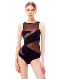 Wholesale Transparent One Piece Swimsuits - 2017 New Women's Mesh Swimsuit One Piece Transparent Swimwear S-3XL Plus Size Bathing Suit Monokini Trikini Ladies Female