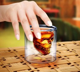 Wholesale Doomed Shot Glass - 75ml Skull Head Shot Glass Cup Doomed Crystal Double Wall Vodka Drinkware Beer Wine Whisky Drinking Glasses Cup Home Bar Party Decoration