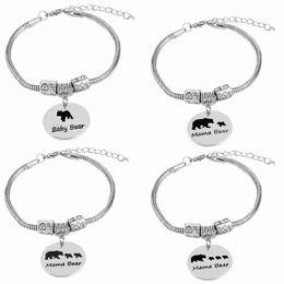 браслеты для младенцев Скидка мама медведь браслеты для женщин старинные мама медведь браслет 1 2 3 детенышей дети змея цепи подарок на день рождения ребенка медведь подвески