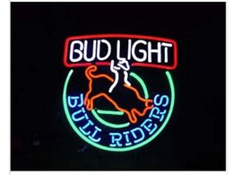 Wholesale Neon Rider - New BUDLIGHT BUD LIGHT BULL RIDERS Glass Neon Sign Light Beer Bar Pub Sign Arts Crafts Gifts Lighting Size: 22""