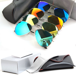 Wholesale White Glass Film - New style Unisex sunglasses Color film Lens men's sunglasses Mirror sun glasses Woman's glasses Color film sunglasses With box glitter2008
