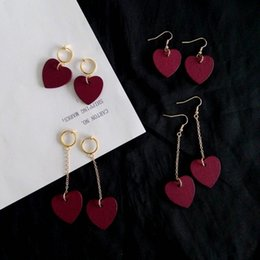 Wholesale Heart Dangle Love Red - Harajuku red heart-shaped earrings earrings girls log heart love fashion earrings no pierced ear clip