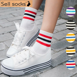 Wholesale Three Stripe Socks Wholesale - Wholesale-Korea Hot new three candy-colored stripes on cotton sock sock women whole size35-40