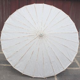 Wholesale White Bamboo Parasols - (100 pcs lot) New Eco-friendly Bamboo With Paper White Color Long-handle Bridal Wedding Umbrellas free Shipping