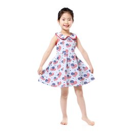 Wholesale Patterns Toddler Dresses - 4th of July Baby Girls Clothing Heart Pattern Western Girls Boutique Dress Summer Cotton Collar Girls Smock Dress Toddler Outfit