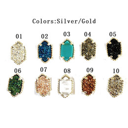 Wholesale cheap women earrings - 2017 Luxury Brand Stud Earrings women Gold&Silver 10 colors Natural stone Copper Earrings For ladies Fashion Jewelry cheap wholesale