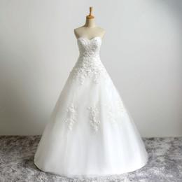 2019 weiße koreanische hochzeitskleider Echt Fotos Schatz Perlen A-Linie Korsett Mieder Spitze Klassische Tüll Brautkleider für Braut Kleid Casamento Elegant (Elfenbein als Bild)