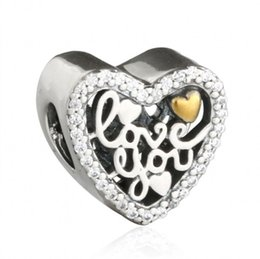 Wholesale Sterling Silver Word - 2017 Valentines Day Love Script Charms Beads 925 Sterling-Silver-Jewelry Love You Words Heart Beads DIY Brand Bracelets Accessories HB706