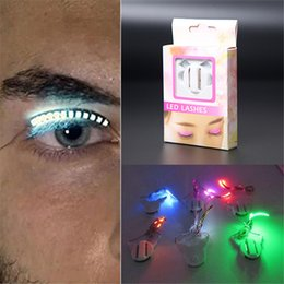 Wholesale Eyelid Strips - 2017 Hot Glowing LED Lashes LED Eyelashes Eyelid False Eyelashes for Fashion Icon Saloon Pub Club Bar Party