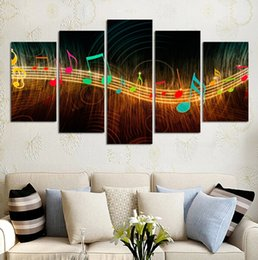 Wholesale Music Canvas Painting - 2017 New Unframed Painting On Canvas Abstract Music Notation Pictures Home Decor 5pcs Wall Art Paintings Livingroom Deco Murals