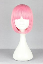 Wholesale Short Pink Wavy Wig - ynthetic Hair Wigs Pink Wig Fei-Show Synthetic Heat Resistant Short Wavy Hair Peruca Pelucas Costume Cartoon Role Cos-play Bob Student Ha...