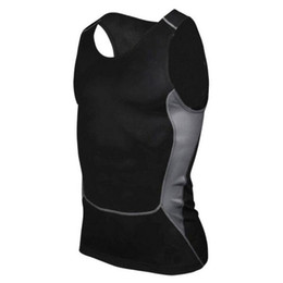 Wholesale Tight Tank Top Undershirt - Wholesale- Mens Tights Compression Tank Tops Quick Dry Slim Fit Undershirt Masculina Sexy Tops Solid Black White Sleeveless Vest Homme