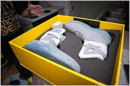 Wholesale Mag Led - Air Mag Sneakers Marty McFly's LED Shoes Back To The Future Glow In The Dark Gray Black Mag Marty McFlys Sneakers With Box Top quality