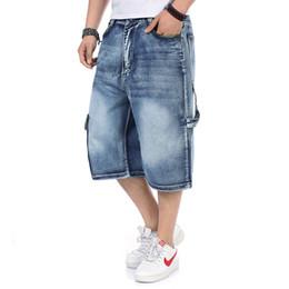 Wholesale Denim Short Pants Harem - Wholesale free shipping Men's Denim Shorts Male Fashion Shorts Multi-pocket Cargo Shorts Washed Denim Short Pants Men Jeans