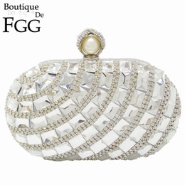 Wholesale Cocktail Evening Bags - Wholesale- Dazzling Crystal Pearl Clasp Silver Evening Wedding Party Cocktail Handbags For Women Clutches Purse Metal Hardcase Bridal Bag