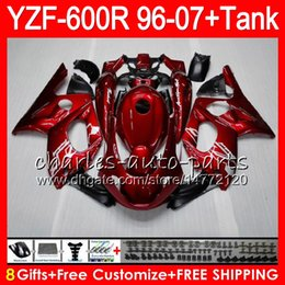 8Gift 23Color Per YAMAHA Thundercat YZF600R 96 97 98 99 00 01 53NO2 Perlato rosso YZF 600R YZF-600R 1996 1997 1998 1999 2000 2001 Kit carenatura da