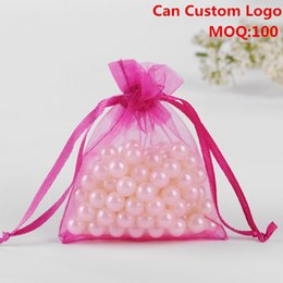 Wholesale Organza Gift Bags Cheap - Wholesale-9x12cm Rose Red Organza Jewelry Bags Christmas Gift Bags Cheap Organza Pouches Customed Logo Printed 100pcs lot Wholesale
