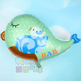 Wholesale bird balloons - 20pcs lot 66*55cm green cute baby Bird Shaped helium balloon for party decoration birdie foil ballon