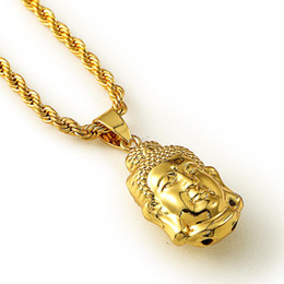 Wholesale Gray Crystal Necklace - JFY GOLD BUDDHA NECKLACE Maxi Statement Necklaces Men Gold Chain Buddha Head Pendant HipHop Jewelry For Women Men Wholesale
