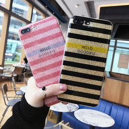 Wholesale Stripe Phone Shell - For Iphone 8 Mobile Phone Cases Transparent Silicone Soft Shell Glitter Stripes Lanyard Hole Phone Shell For Iphone 7 6 6s Plus