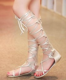 Wholesale Low Price Silver Heels - wholesaler free shipping factory price hot seller fashion lace up very sexy long low heel cross tied sandals girl women lady shoe 085