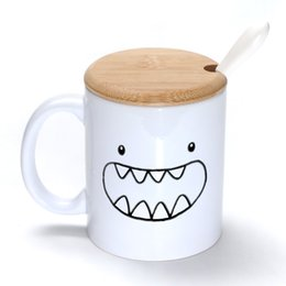 Wholesale Dinosaur Cup - Dinosaur Mug Coffee Milk Ceramic Cup Creative DIY Gifts Mugs 11oz With Bamboo cover lid Spoon S103