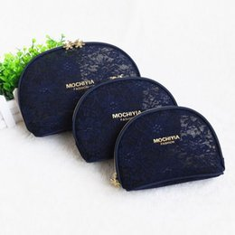 Wholesale Silk Pouches Zipper - Travel Bud silk black makeup bag,hand bag travel South Korea female black transparent portable cosmetic bag size Pouch Set Kit