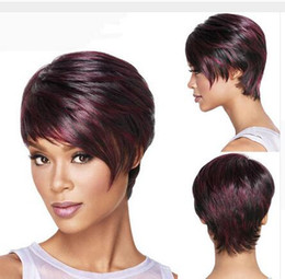 Wholesale Layered Black Wig - Layered Short Hairstyles Straight Sexy Ladies Red Mixed Black Bob Synthetic Hair Wig Peruca Top Quality Fibre Party Wi