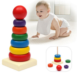 Wholesale Toddler Stacking Toys - New Arrival Baby Toddler Kids Tumbler Pattern Stack Up Toy Rainbow Tower Stacking Ring Toys