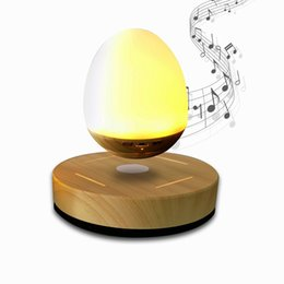 Wholesale Dock Radio - Bluetooth Speakers with Wood Grain Base LED Bulb Portable Wireless Smart Floating speakers subwoofers Night Light Lamp