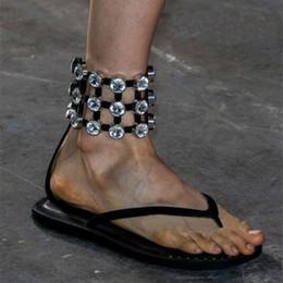 Wholesale Sandwich Wraps - New Luxury Catwalk Sandals European Diamond Sandwich Roman Sandals Female Leather Flats Dragged on Ankle Wrap Leisure Sandals Woman