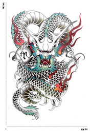 Wholesale Totem Tattoo Designs - aint manufacture 3pcs big large Dragon totem designs Temporary tattoo stickers Waterproof body paint tatoo 3d art drawings for men free s...