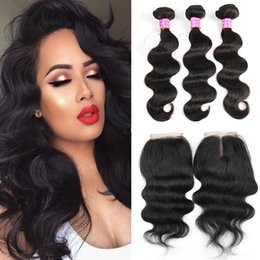 Wholesale Malaysian Wavy Virgin - Brazilian 8A Body Wave Weave Bundles with 4X4 Lace Closure 100% Unprocessed Malaysian Natural Color Wet and Wavy Virgin Human Hair Extension