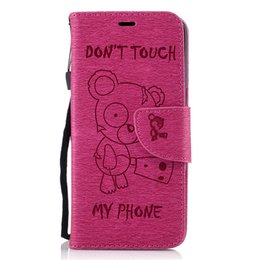 Wholesale Iphone Leather Wallet Strap - Cartoon Bear Wallet Leather Pouch Case For iPhone 7 7plus 6 6s plus Samsung s7 s7edge s6 s6edge Strap Stand Card TPU Cover