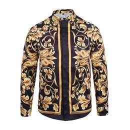 Wholesale Dress Gold Chains - Wholesale- New Autumn Fashion Brand Men Colthes Slim Fit Men Long Sleeve Shirt Medusa gold chain print Shirts Men Casual Business Shirts