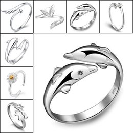 Wholesale Fox Horse - 925 Silver Rings Crown Dolphins Dragonfly Horse Wing Fox Heart Forever Love Adjustable Finger Ring Nail Rings Women Wedding Jewelry 080158
