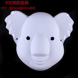 Wholesale Plain Paper Masquerade Masks - Karaoke bear Full Face Blank Masquerade Mask Plain White Paper Pulp Adult Animal DIY Fine Art Painting Party Masks 10pcs lot