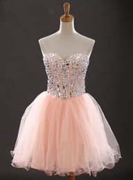 Wholesale Pink Rhinestone Short Homecoming Dresses - Homecoming Dresses Coral Sweetheart Rhinestone Prom Dresses Short Sleeveless Lace up Party Dresses Plus Size Custom Made