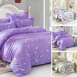 Wholesale White Red Bedding Set - Wholesale- Bedding Set Star Bedding Set Duvet Cover Set Korean Bed Sheet +Duvet Cover +Pillowcase Bed Cover Bed Linen 4 Size V981
