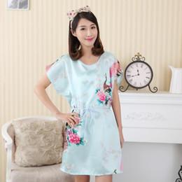 7d56b0fd19 Wholesale- Hot Sale Chinese Women Faux Silk Robe Bath Gown Summer Lounge  Home Dress Print Sleepwear Sexy Nightgown Flower Plus Size WC095