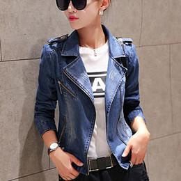 jaqueta jeans jaqueta com zíper Desconto Atacado-Moda feminina Denim Jacket Mulher Casual Slim Jean Jacket manga comprida Zipper Denim Brasão Outwear Feminino Vestuário Plus Size S-XXL