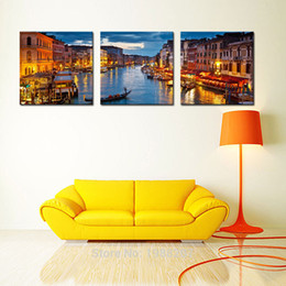 Wholesale View Landscape - 3 Panels Venice Night View Canvas Paintings Artwork Print Landscape Wall Art Painting with Wooden Framed For Home Decoration