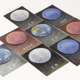 Wholesale Shape Sticky Note Pad - Wholesale- 2PCS 60 Sheets Korean Cute Lonely Planet Earth Moon Neptune Sedna Stickers Round Shape Memo Pad Sticky Notes Bookmarks
